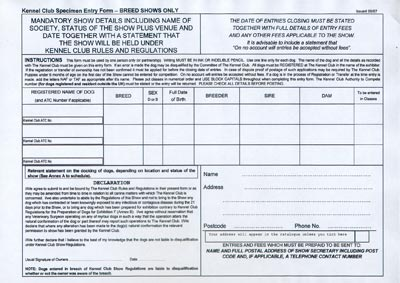 Photo showing sample entry form
