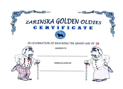 Image of Golden Oldies Certificate